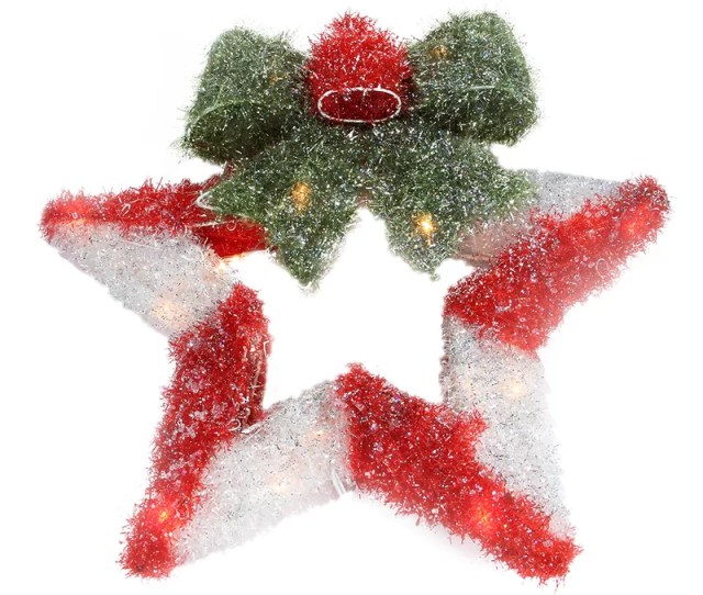 Lighted Tinsel Star With Bow Christmas Wreath