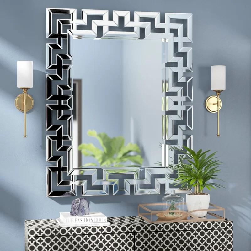 Willa Arlo Interiors Rectangle Ornate Geometric Wall Mirror Amp Reviews Wayfair