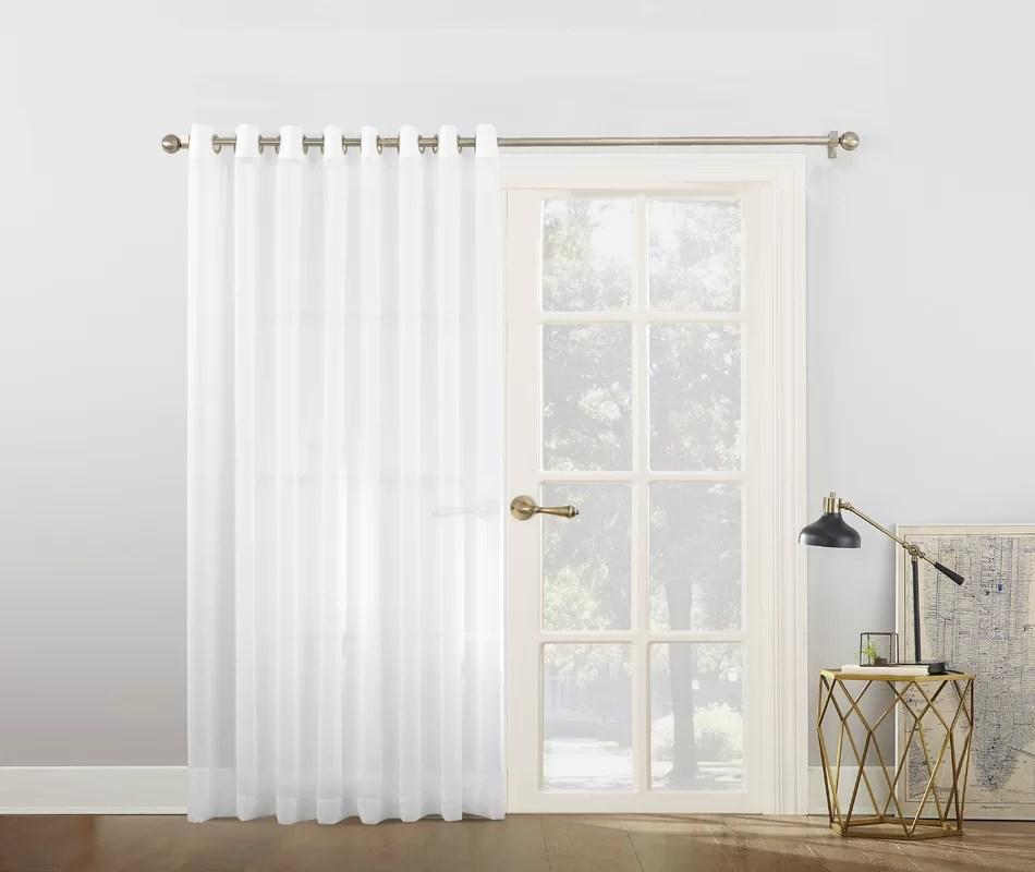 No 918 Emily Voile Sliding Door Patio Solid Semi Sheer Grommet Single Curtain Panel Amp Reviews