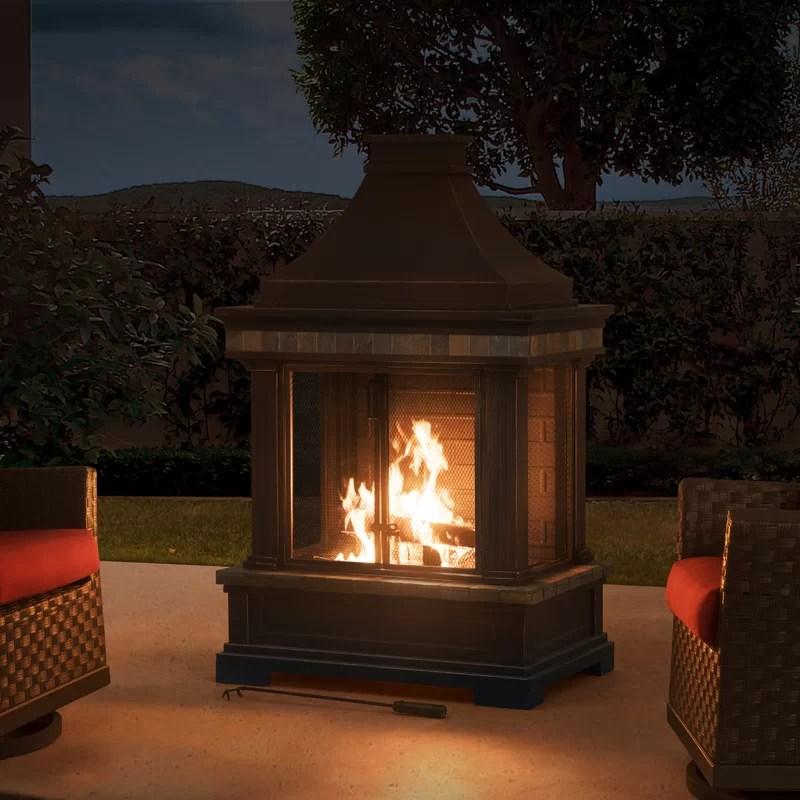 Sunjoy Brownston Steel Wood Burning Outdoor Fireplace ... on Quillen Steel Outdoor Fireplace  id=25363