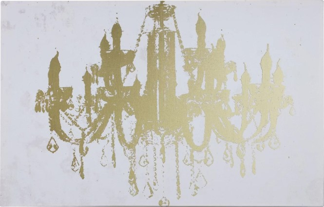 Champagne Gold Diamond Chandelier Graphic Art On Wred Canvas