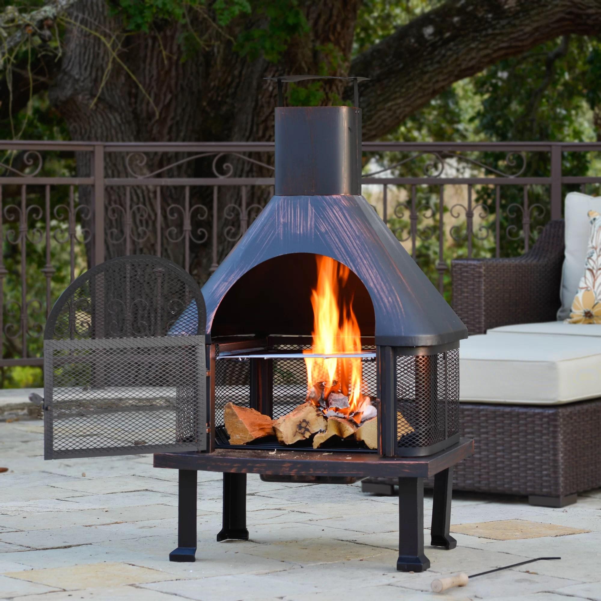 Borealis Fuoco Steel Wood Burning Outdoor Fireplace ... on Quillen Steel Outdoor Fireplace  id=43838