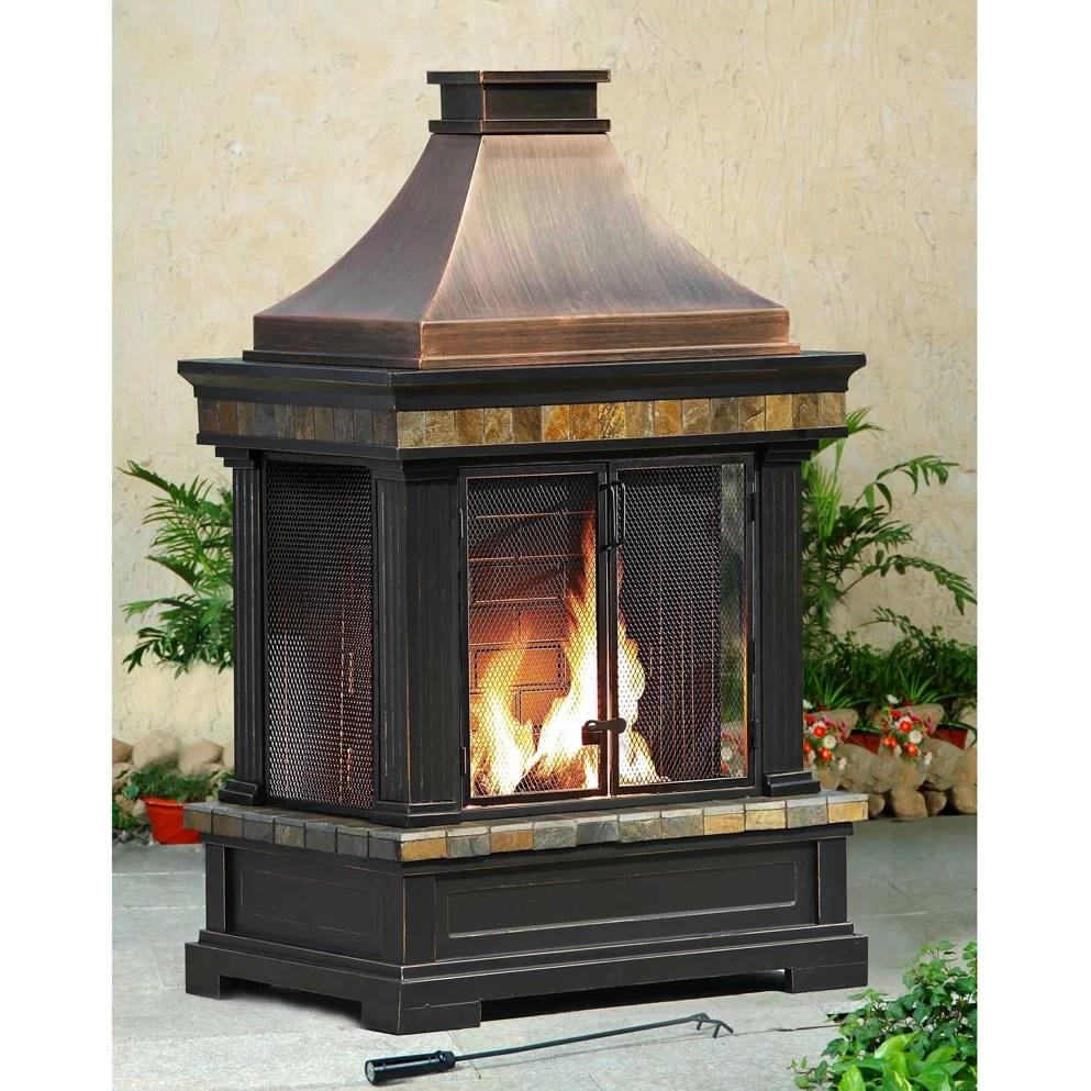Sunjoy Brownston Steel Wood Burning Outdoor fireplace ... on Quillen Steel Outdoor Fireplace  id=56774