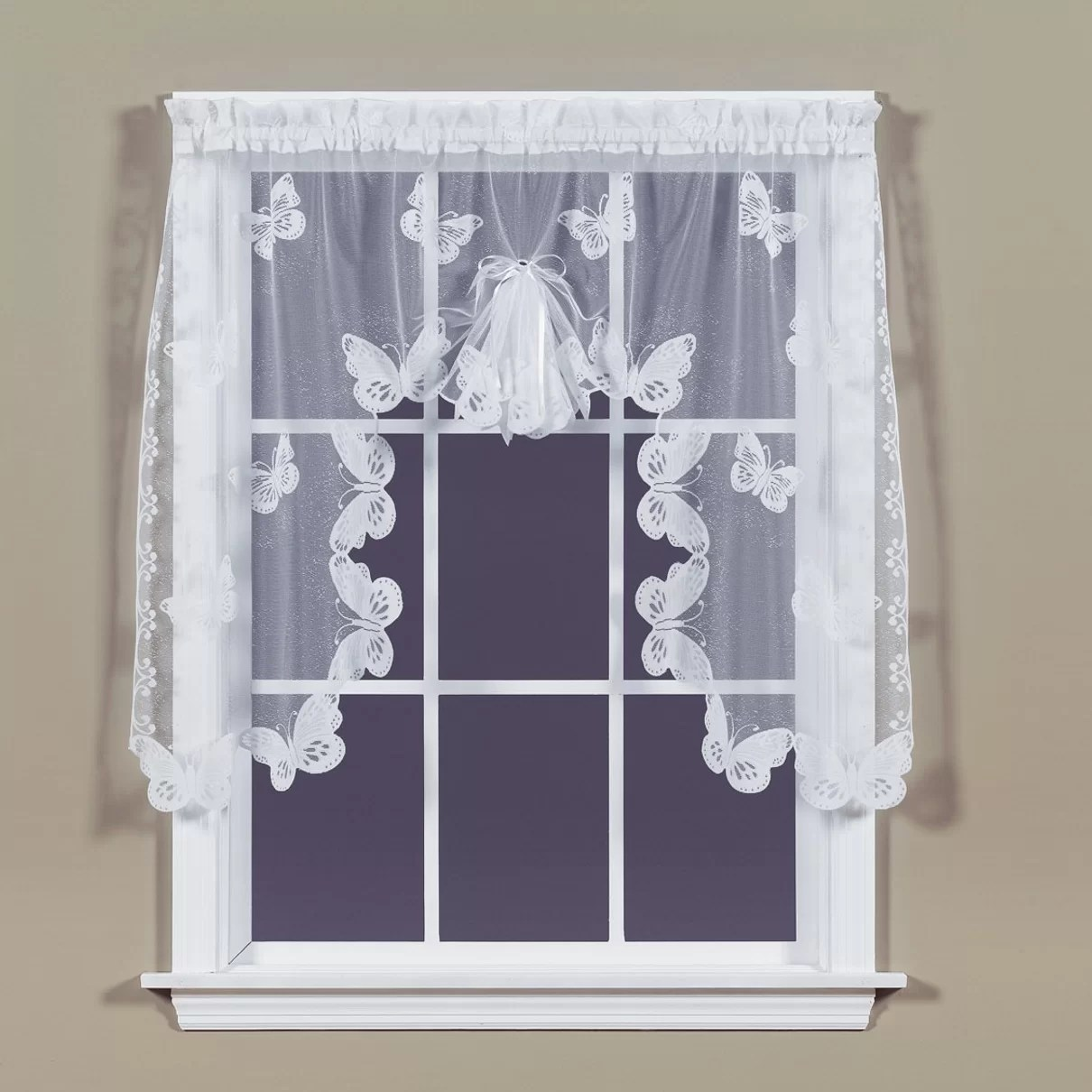 Saturday Knight Butterfly Lace Swag Curtain Valance