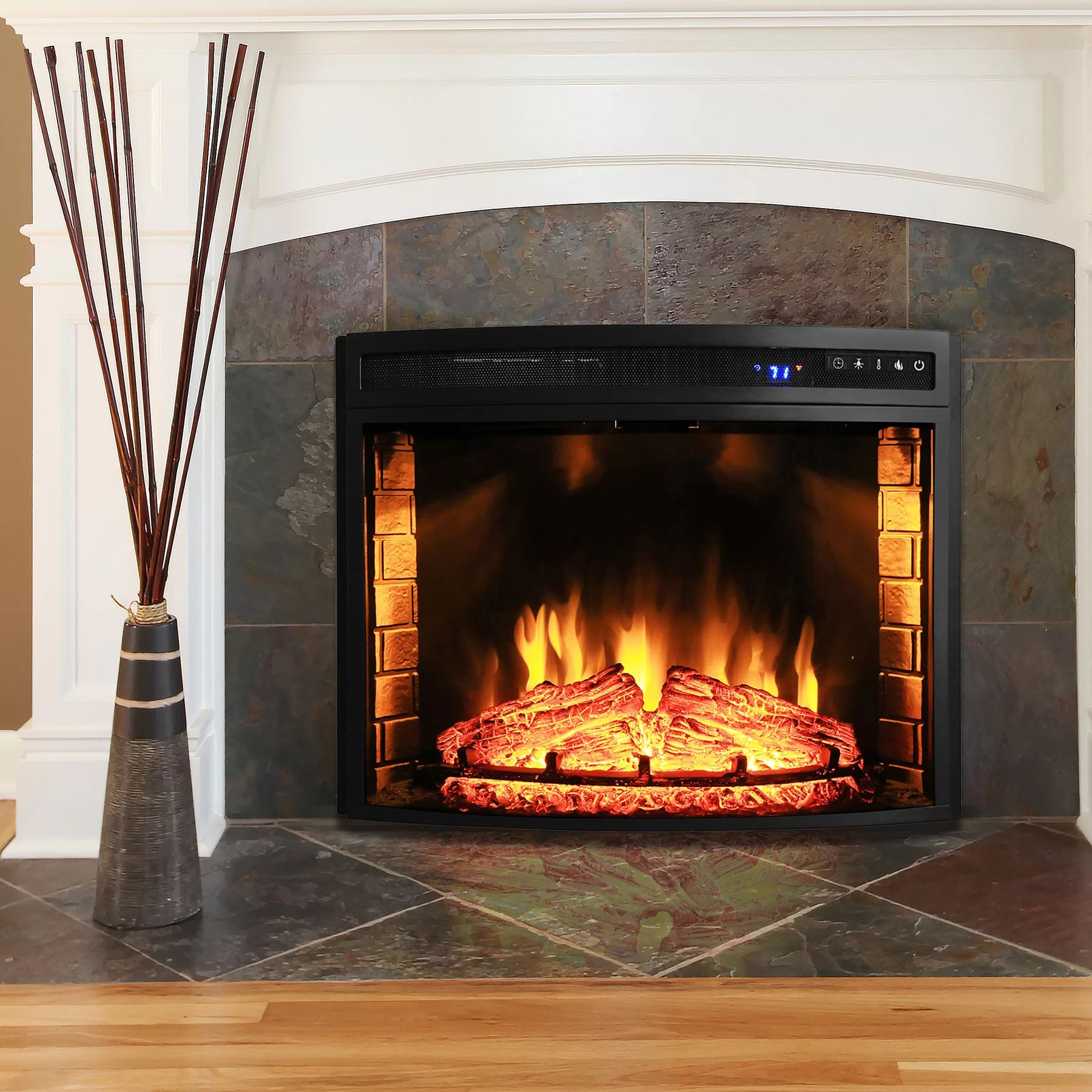 AKDY Curved Wall Mount Electric Fireplace Insert Amp Reviews Wayfair