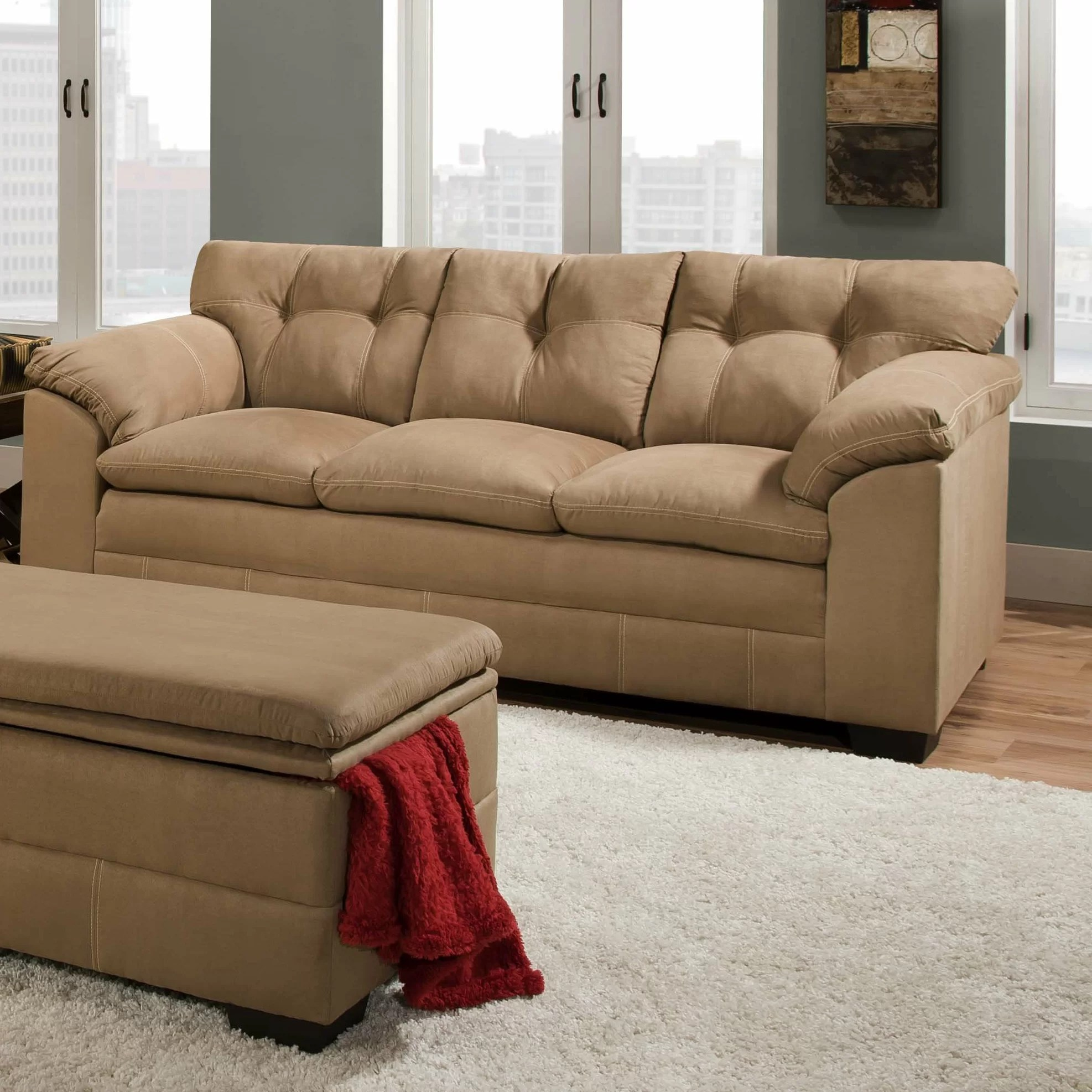 Simmons Velocity Microfiber Sofa Couch With Chaise