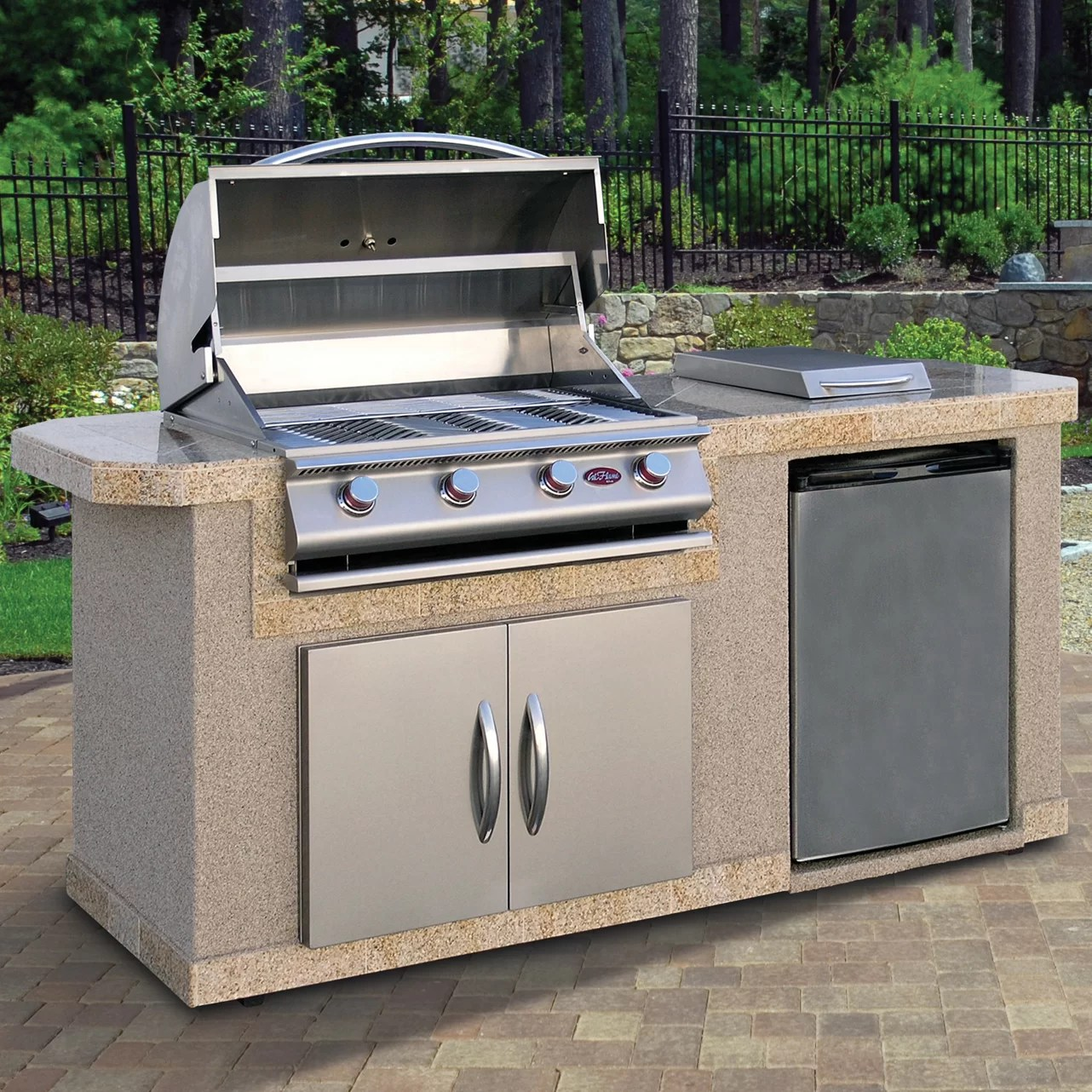 CalFlame Outdoor Kitchen Islands 4-Burner Built-In Propane ... on Built In Grill Backyard id=48446