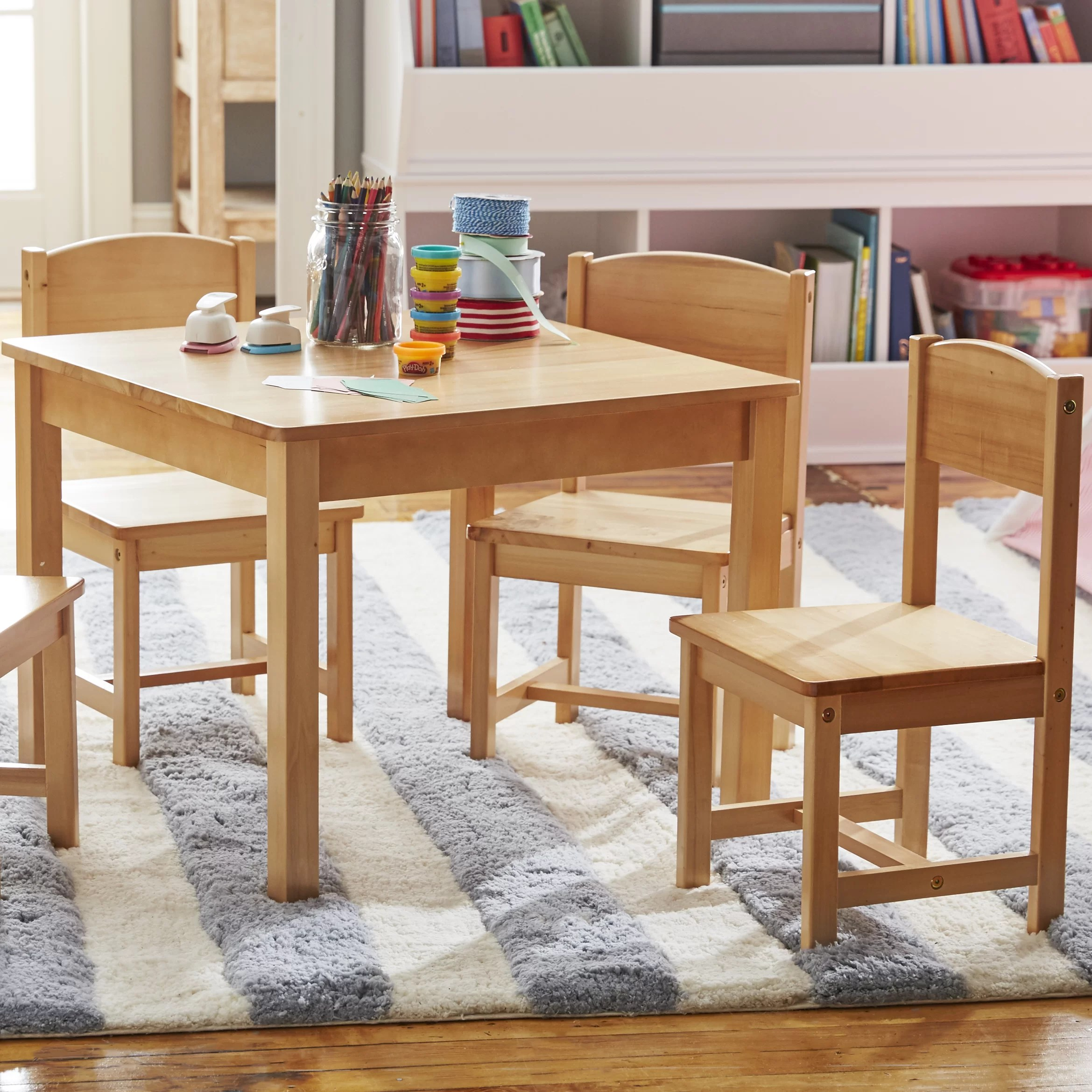 KidKraft Farmhouse Kids 5 Piece Square Table And Chair Set