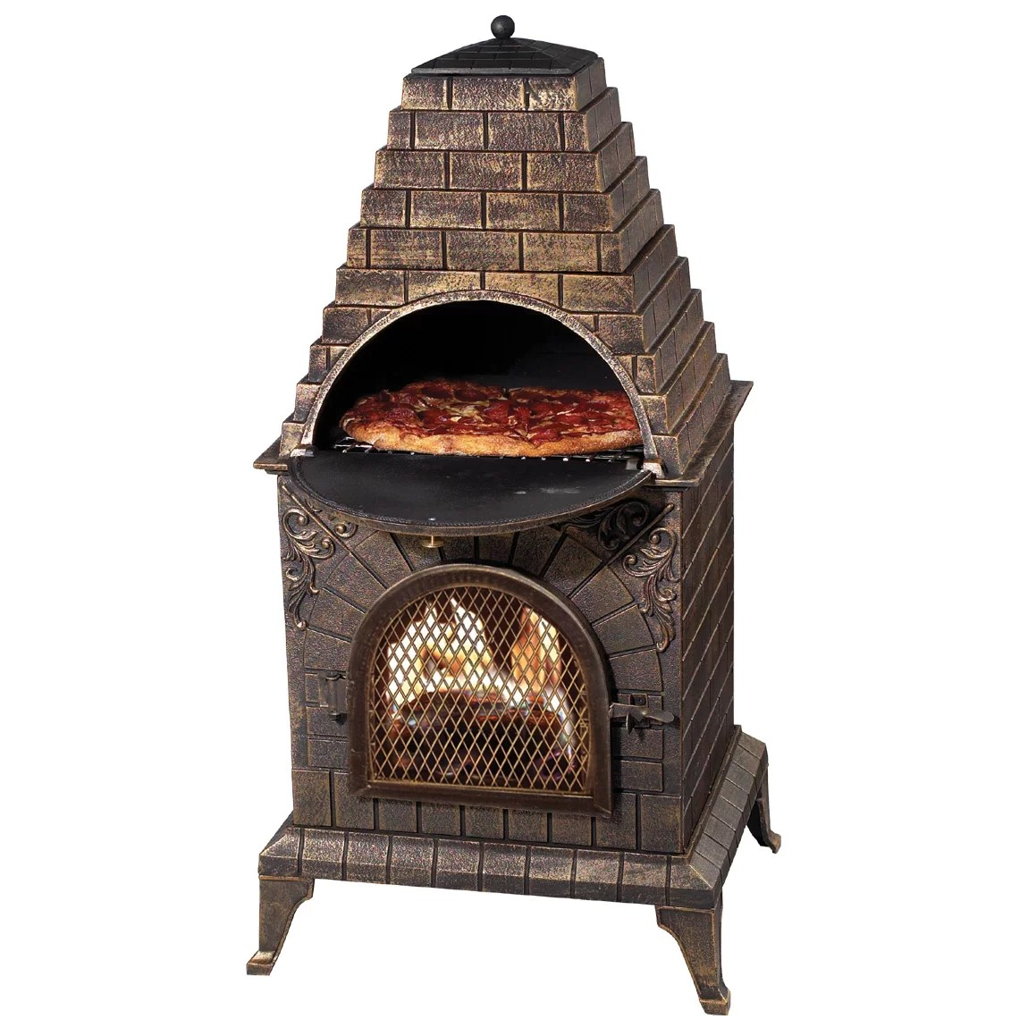 Outdoor Pizza Oven Fireplace Chiminea Wood Burning BBQ ... on Outdoor Patio With Pizza Oven  id=48132