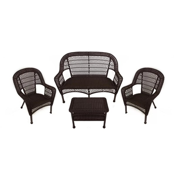 resin wicker patio furniture sets LB International 4 Piece Resin Wicker Patio Furniture Set