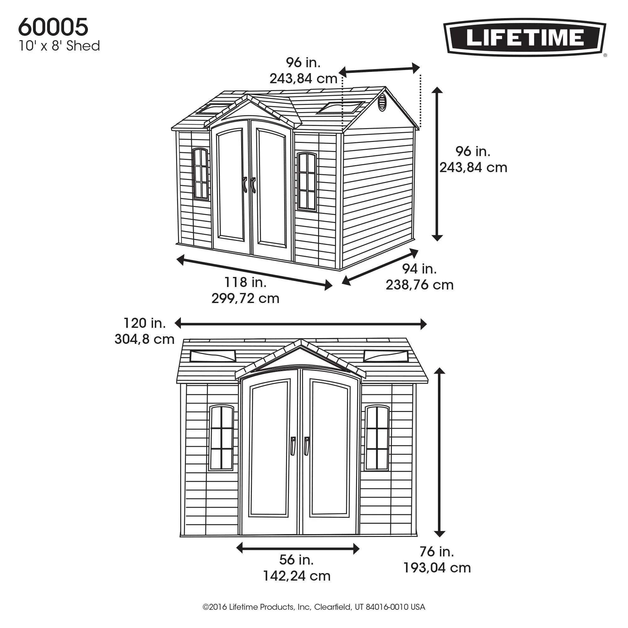 Lifetime Side Entry 10 Ft W X 8 Ft D Plastic Storage