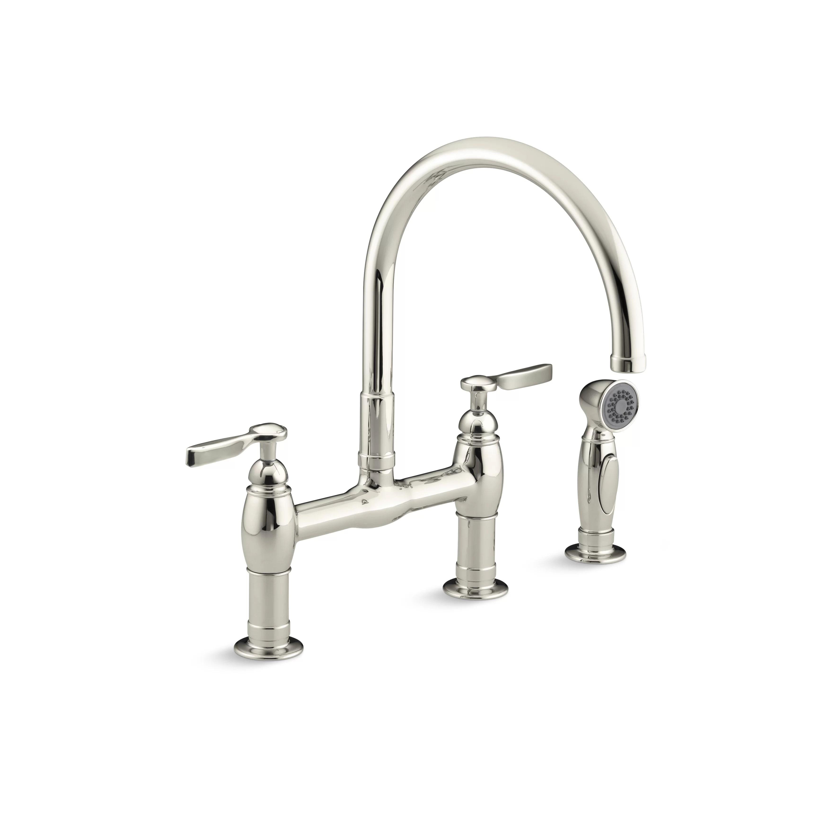 Kohler Parq Two Hole Deck Mount Bridge Kitchen Sink Faucet