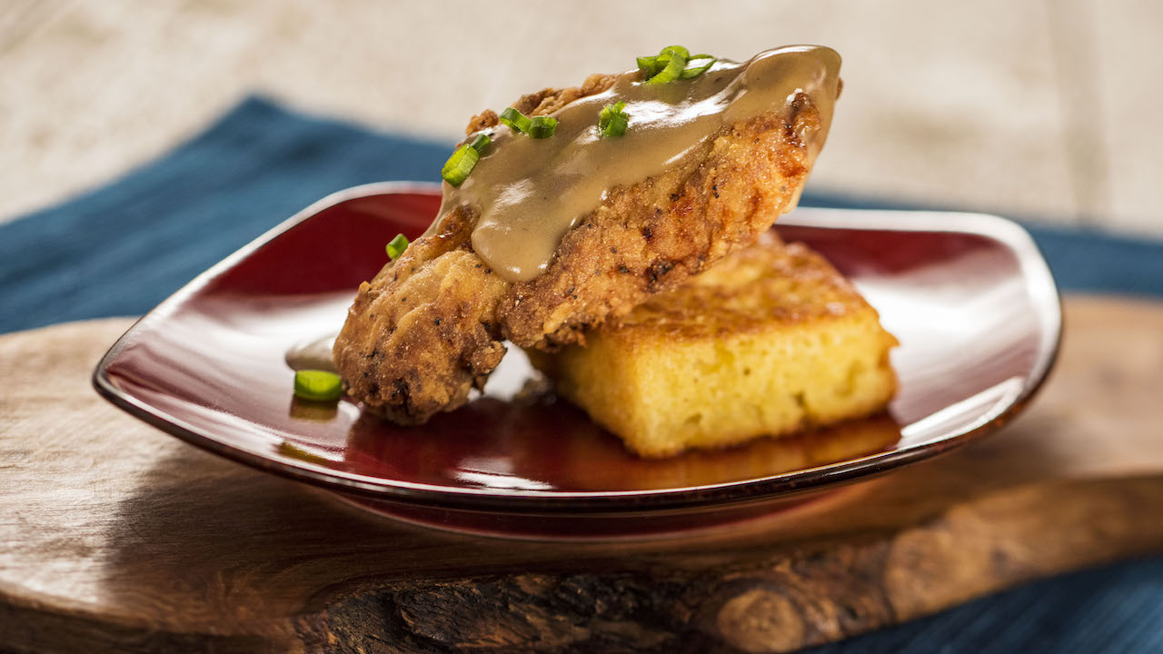 Crispy Chicken with Griddled Cornbread and Red-Eye Gravy