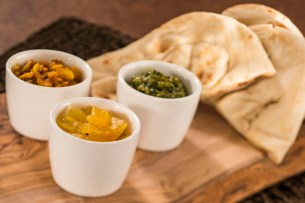 Warm Indian Bread with Pickled Garlic, Mango Salsa and Coriander Pesto Dips