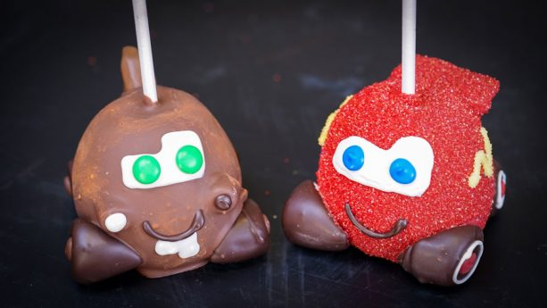 Lightning McQueen and Tow Mater Apples at Trolley Treats at Disney California Adventure park for Pixar Fest