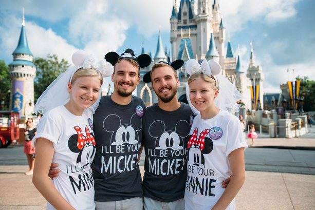 Identical twin couples pose together at Walt Disney World Resort