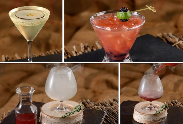 Enchanted Apple, Evil to the Core, and The Smoking Mirror Specialty Alcoholic Beverages at Storybook Dining at Artist Point at Disney's Wilderness Lodge
