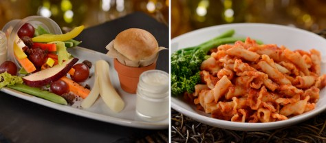 Kid's From the Garden Appetizer and Kid's Princess Pasta Entrée at Storybook Dining at Artist Point at Disney's Wilderness Lodge