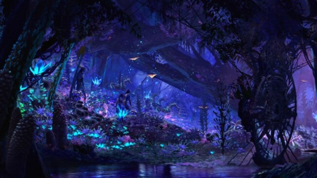 A group of Na'vi people wander through the bioluminescent rainforest at Pandora – The World of Avatar