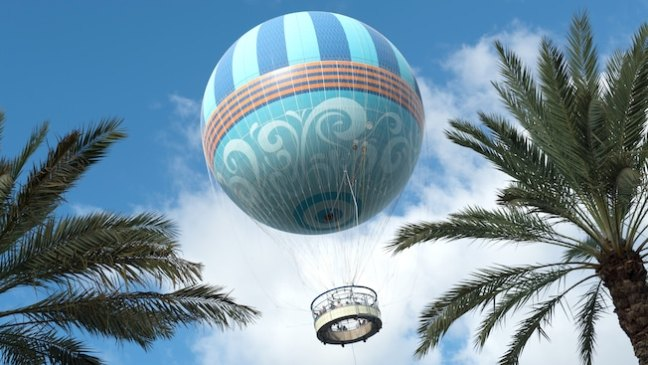 The world's largest tethered helium balloon flying above Disney Springs at Walt Disney World Resort