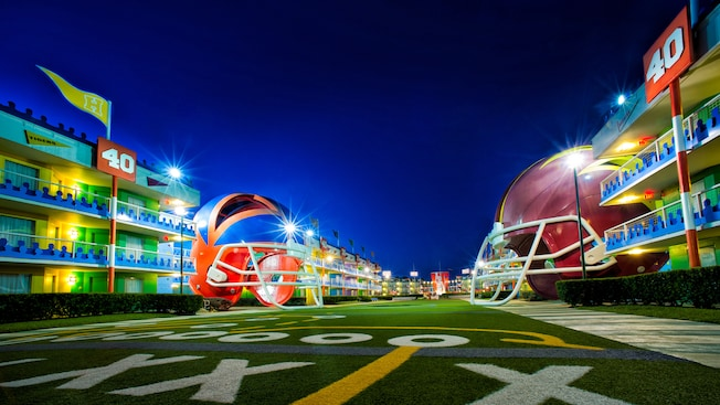 Giant helmets and lodging at Disney's All-Star Sports Resort