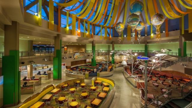 Sunshine Seasons food court with high ceiling and a massive glass roof
