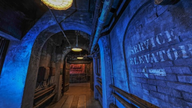 A sign for the service elevator at The Twilight Zone Tower of Terror