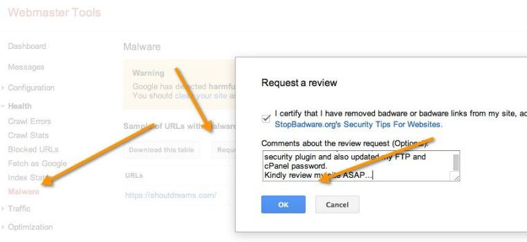 Use Search Console to Submit Malware Consideration Request