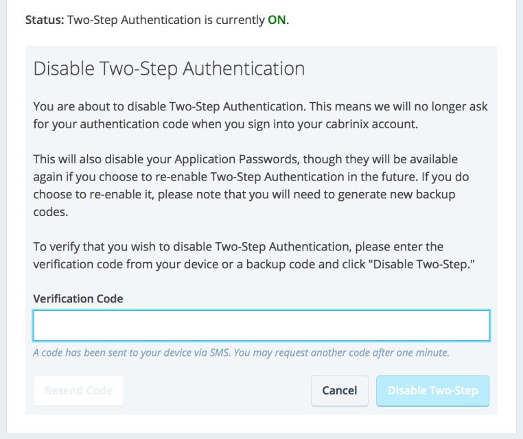 Disable Two-Step Authentication