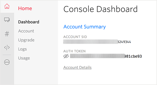 Account SID and Auth Token.