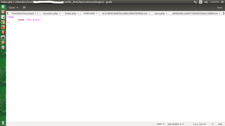 Screenshot 1 - Malicious Code Injection WordPress - Banco De Oro Hack