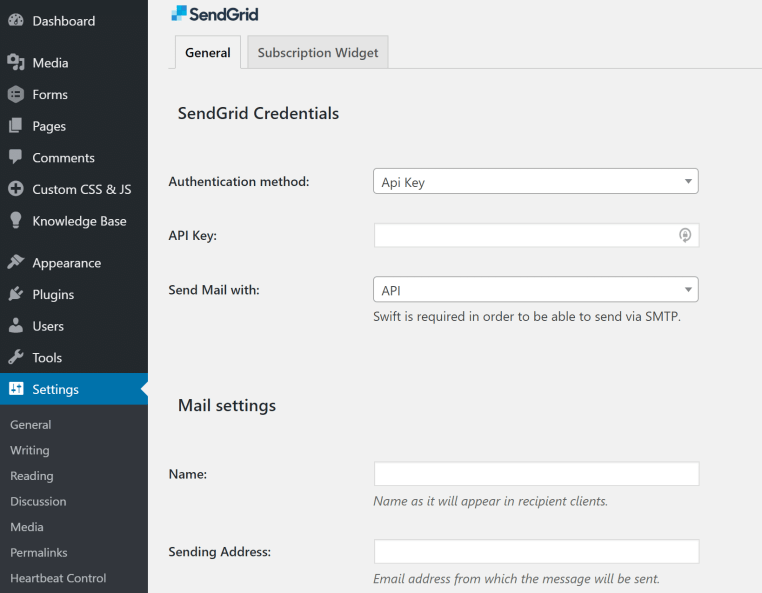 configure sendgrid in WordPress to send emails