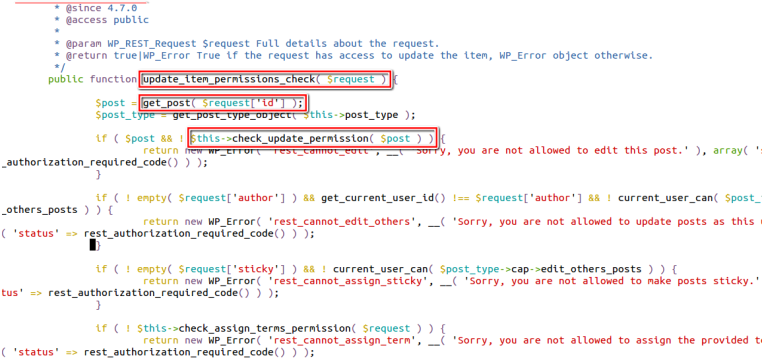 rest api exploit in wordpress exists in