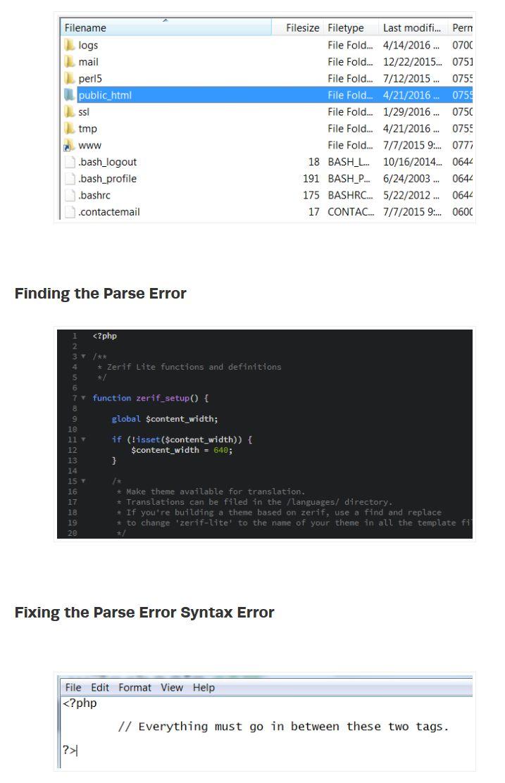 How to Fix Parse Error Syntax Errors in WordPress