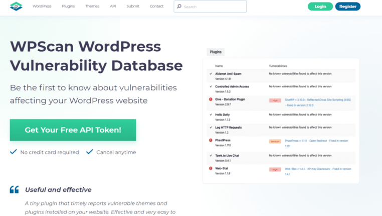 wordpress database vulnerability scan
