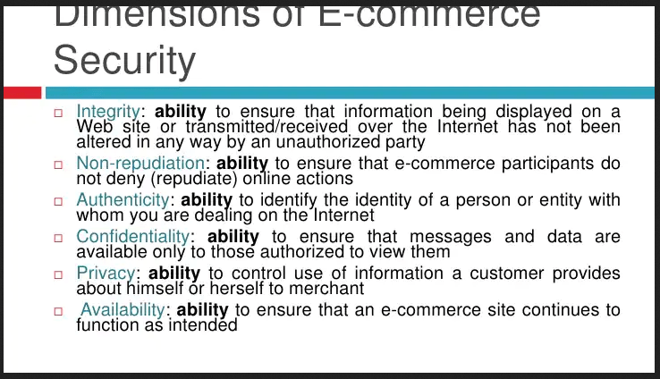ecommerce security dimensions