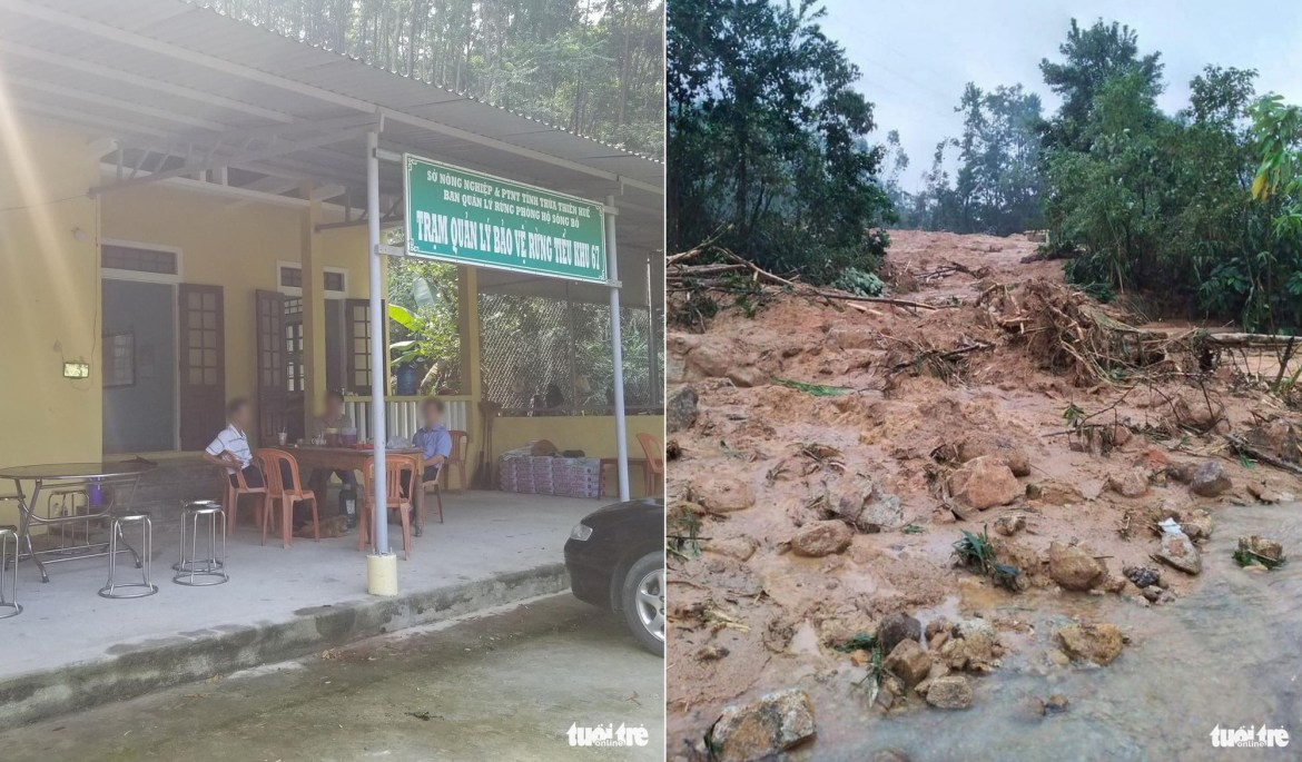 <em>Photos taken at the Bo River forest protection station in Thien-Hue Province before and after a landslide occurred on October 12, 2020. Photo: </em>Tuoi Tre Contributor