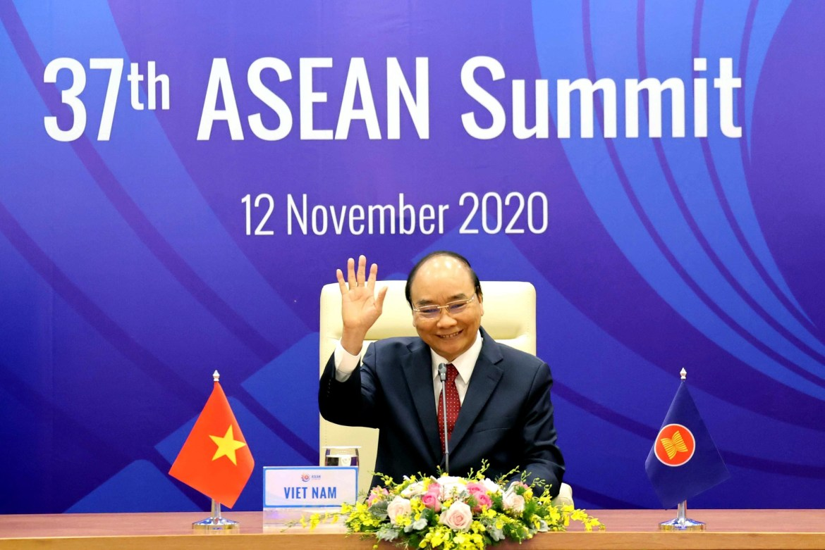 <em>Vietnamese Prime Minister Nguyen Xuan Phuc is pictured at the 37th ASEAN Summit on November 12, 2020. Photo:</em> Vietnam News Agency