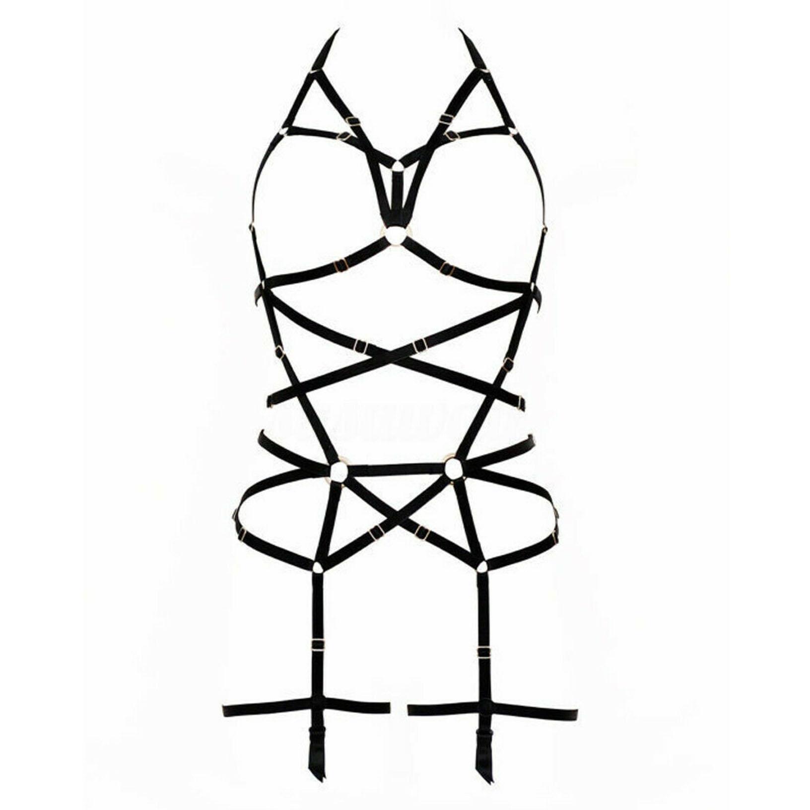 Y Leather Top Body Harness Bondage Bra Waist Belt Strap