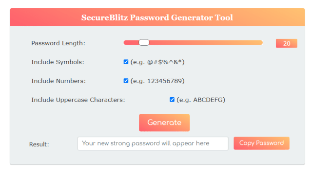 generate strong passwords