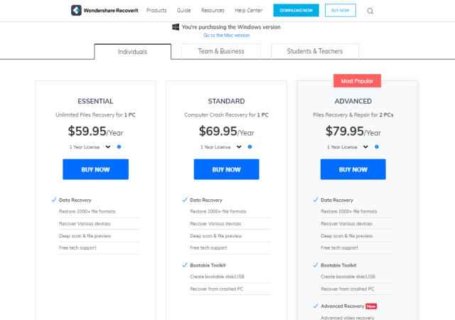 Wondershare Recoverit Pricing Plans