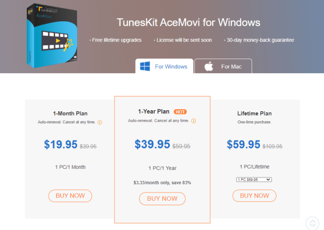 pricing plans for TunesKit AceMovi for Windows