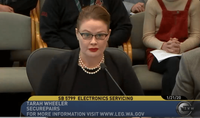 Tarah Wheeler testifying, Washington State Senate, January 21, 2020.