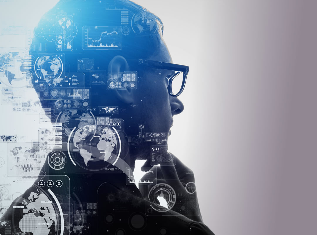 Stylized thinking man with computer screen overlay