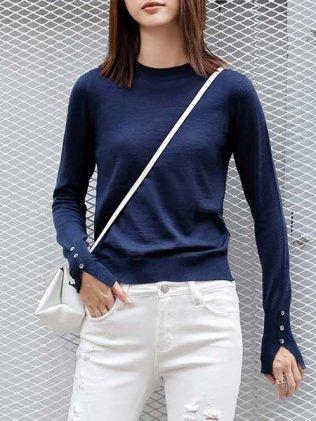 Royal Blue Buttoned Crew Neck Plain Simple Sweater