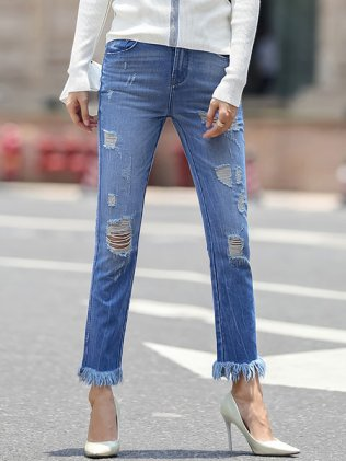 Blue Statement Pockets Ripped Denim Jeans