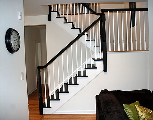 Painting Stairs Diy Faqs And Tips Your Home Only Better | Dark Stained Stairs With White Risers | Restain | Tread | 2 Colour | Staining | Glossed