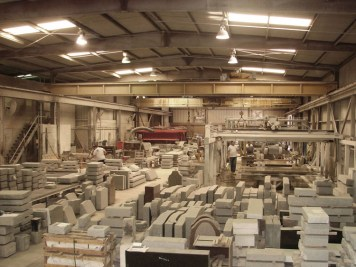 Inside Bailey Monument manufacturing plant