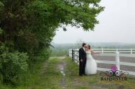 Beautiful rustic wedding photo in the mist