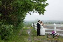 Beautiful rustic wedding photo in the mist